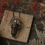 Украшения handmade. Livemaster - original item Dark smoky quartz crystal pendant (p-015). Handmade.
