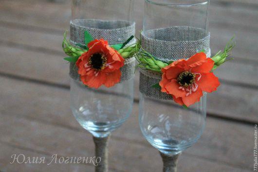 Свадебные аксессуары ручной работы. Ярмарка Мастеров - ручная работа. Купить Свадебные бокалы. Handmade. Комбинированный, бокалы для свадьбы
