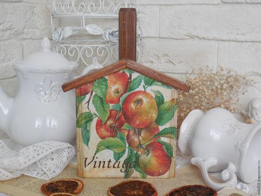 """Кухня ручной работы. Ярмарка Мастеров - ручная работа. Купить """"Яблочное кантри"""" полотенцедержатель. Handmade. Коричневый, кухня Прованс"""