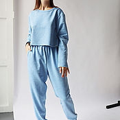 handmade. Livemaster - original item Blue melange knitted suit. Handmade.
