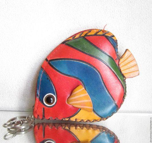 Винтажные сумки и кошельки. Ярмарка Мастеров - ручная работа. Купить Кошелек ключница рыба рыбка кожа. Handmade. Комбинированный, Нэмо