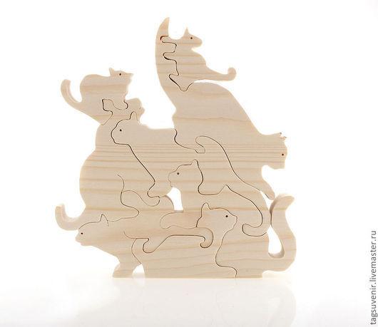 Пазл для детей - кошки - размер 145х160. Материал - сосна 18 мм. Фигурки можно раскрасить вместе с ребенком.