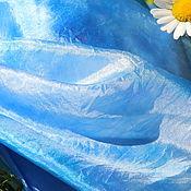 Аксессуары ручной работы. Ярмарка Мастеров - ручная работа Шелковый палантин Небеса шелковый шарф, голубой палантин. Handmade.