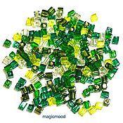 Материалы для творчества handmade. Livemaster - original item 10gr seed Beads Miyuki 3 mm cube mix 03. green Japanese seed beads Miyuki. Handmade.