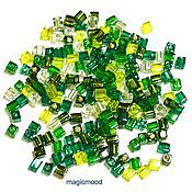 Материалы для творчества ручной работы. Ярмарка Мастеров - ручная работа Бисер Miyuki 3 мм куб микс 03 оттенки зеленого японский бисер Миюки. Handmade.