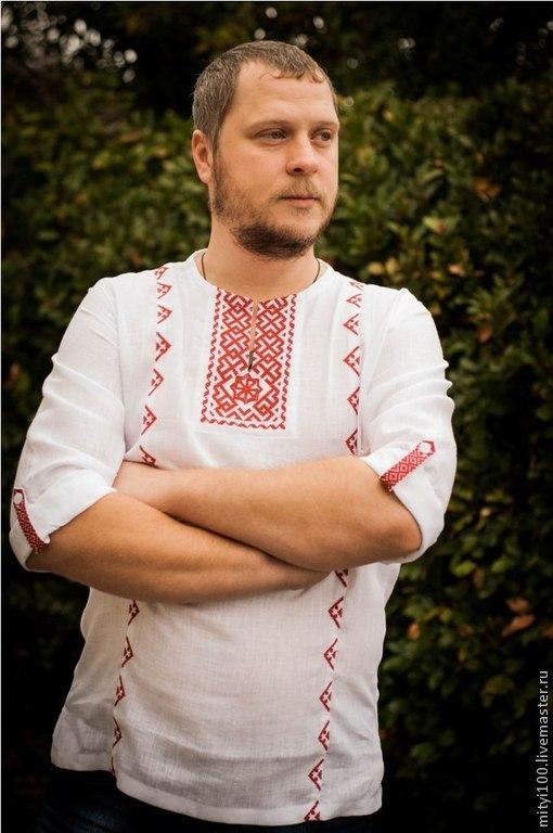 Сорочка Молвинец (бело-красная)