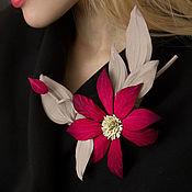 Украшения handmade. Livemaster - original item The decoration of leather brooch is a sprig of Clematis.. Handmade.