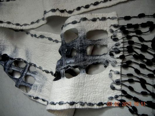 Шарфы и шарфики ручной работы. Ярмарка Мастеров - ручная работа. Купить Шарфы в чёрно-белых тонах. Handmade. Белый
