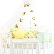 Бортики в кроватку ручной работы. Ярмарка Мастеров - ручная работа Комплект в кроватку Сластёна зелёный. Handmade.