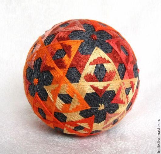Темари ручной работы. Ярмарка Мастеров - ручная работа. Купить Терракотовый темари. Handmade. Шар, вышитый шар, оранжево-серый