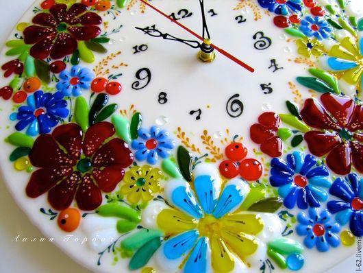 Часы для дома ручной работы. Ярмарка Мастеров - ручная работа. Купить часы из стекла, фьюзинг  Привет на Украину. Handmade. Фьюзинг