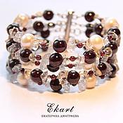 Украшения handmade. Livemaster - original item Garnet bracelet with pearl and garnet.. Handmade.