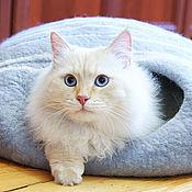 """Для домашних животных, ручной работы. Ярмарка Мастеров - ручная работа Домик для кошки """"Шерстяная пещера"""". Handmade."""