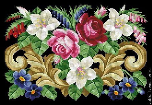 Вышивка ручной работы. Ярмарка Мастеров - ручная работа. Купить Букет с лилиями (дизайн для сумочки). Handmade. Комбинированный, старая схема
