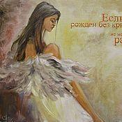 Картины и панно handmade. Livemaster - original item Ashen wings women oil painting. Handmade.