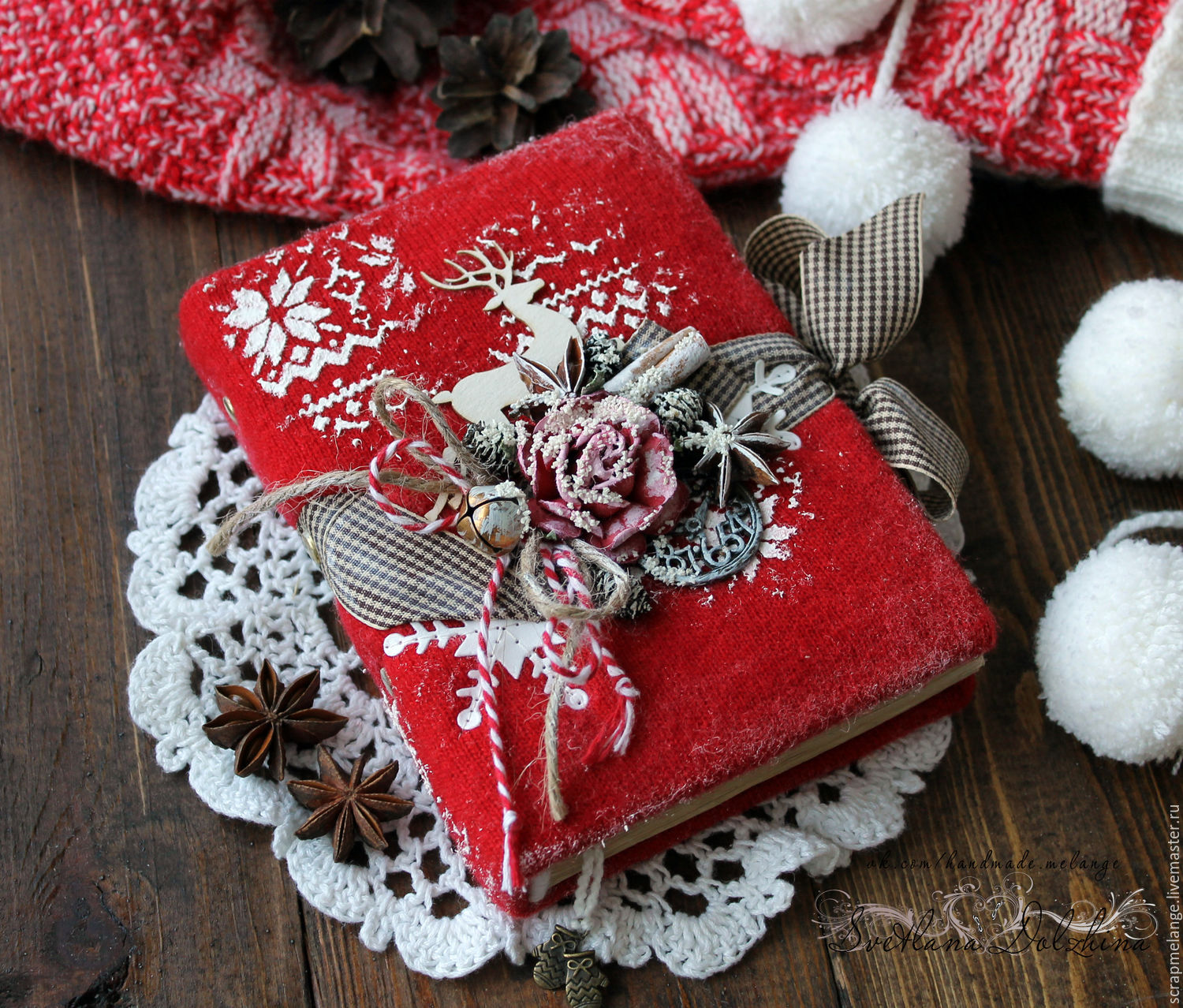 Notebook for records 'Winter sketches' red new year, Notebooks, Tyumen,  Фото №1