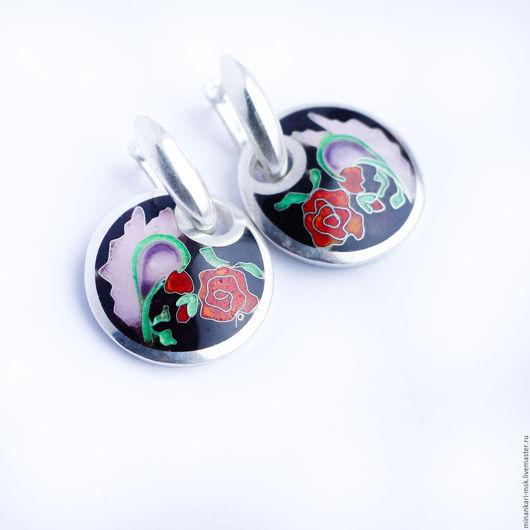 """Серьги ручной работы. Ярмарка Мастеров - ручная работа. Купить Серьги """"Темная роза"""" серебряные. Перегородчатая эмаль Минанкари. Handmade."""