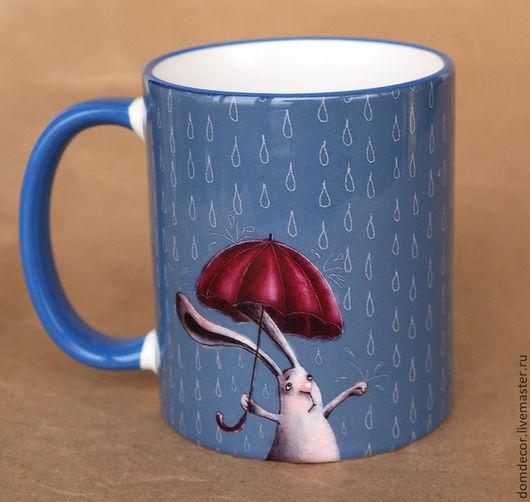 """Кружки и чашки ручной работы. Ярмарка Мастеров - ручная работа. Купить Чашка """"...скоро лето"""". Handmade. Голубой, зонтик"""