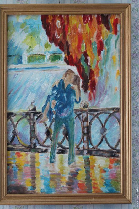 Люди, ручной работы. Ярмарка Мастеров - ручная работа. Купить Поцелуй под дождем  (картина масло). Handmade. Рыжий