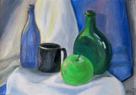 """Натюрморт ручной работы. Ярмарка Мастеров - ручная работа. Купить Картина """"Натюрморт с зелёным яблоком"""". Handmade. Картина, картина для кухни"""
