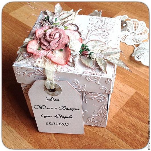 Подарки на свадьбу ручной работы. Ярмарка Мастеров - ручная работа. Купить Свадебная коробочка для денежного подарка. Handmade. Белый