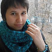 """Аксессуары ручной работы. Ярмарка Мастеров - ручная работа Снуд """"Бирюза"""", снуд-шарф спицами. Handmade."""