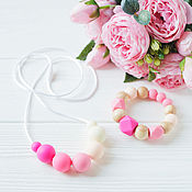 Одежда handmade. Livemaster - original item Slingobusy and silicone teething toy - pink-kit. Handmade.