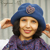 Аксессуары handmade. Livemaster - original item Women`s hat cap for spring autumn with large brim knitted Blue. Handmade.