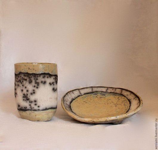 Сервизы, чайные пары ручной работы. Ярмарка Мастеров - ручная работа. Купить Чайная пара в технике Раку. Handmade. чай