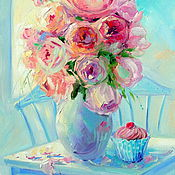 Картины и панно handmade. Livemaster - original item Oil painting on canvas with stretcher 35/50. Cupcake rose scent. Handmade.