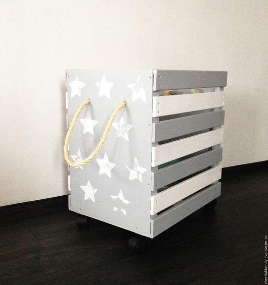 """Детская ручной работы. Ярмарка Мастеров - ручная работа. Купить Ящик для игрушек """"Звездный"""". Handmade. Серый, ящик, для детей"""