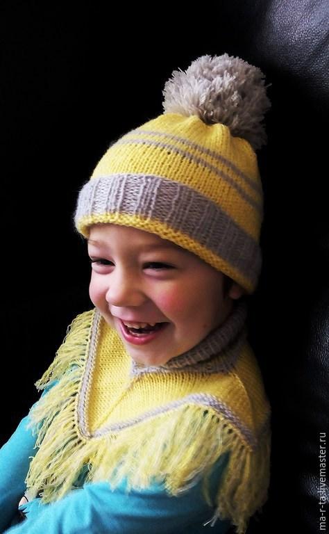 Шапки и шарфы ручной работы. Ярмарка Мастеров - ручная работа. Купить Манишка шерстяная, связанная на спицах. Handmade. Разноцветный, манишка