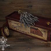 """Для дома и интерьера ручной работы. Ярмарка Мастеров - ручная работа Короб для вина """" Home, Sweet Home """". Handmade."""