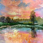 Картины и панно ручной работы. Ярмарка Мастеров - ручная работа Летний пейзаж с рекой и закатом мини картина 20х30 см. Handmade.