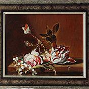 Картины ручной работы. Ярмарка Мастеров - ручная работа Картина маслом Натюрморт с тюльпаном. Handmade.