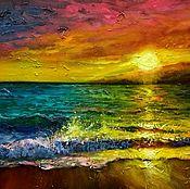 Картины и панно handmade. Livemaster - original item Oil painting with bright sea on the invoice. Handmade.
