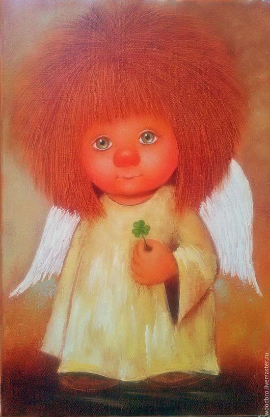 Люди, ручной работы. Ярмарка Мастеров - ручная работа. Купить Ангел удачи, картина маслом. Handmade. Ангел удачи