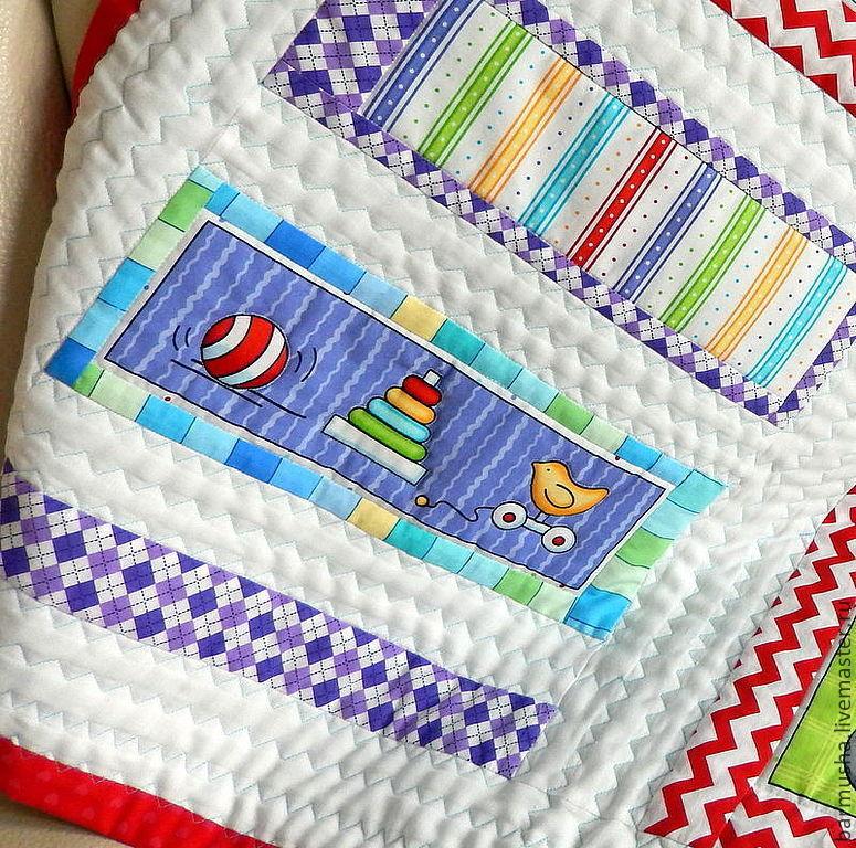 """Пледы и одеяла ручной работы. Ярмарка Мастеров - ручная работа. Купить Детское лоскутное одеяло """"Веселый малыш"""". Handmade. Одеяло"""