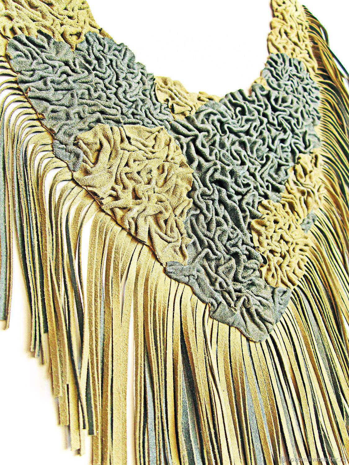 Necklace from genuine leather with fringe and gmurray, Necklace, St. Petersburg,  Фото №1