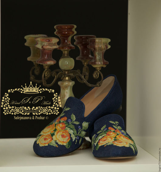 """Обувь ручной работы. Ярмарка Мастеров - ручная работа. Купить """"Огненные розы"""". Handmade. Желтый, вышивка на обуви, Обувь из кожи"""
