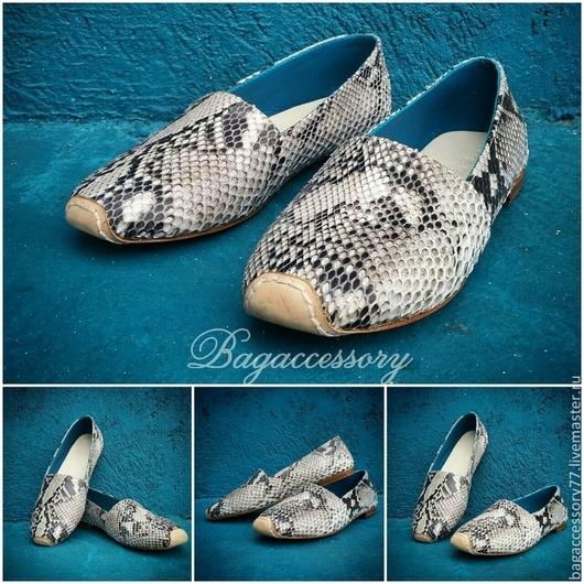 Обувь ручной работы. Ярмарка Мастеров - ручная работа. Купить Мокасины мужские из натуральной кожи питона. Handmade. Разноцветный, мокасины