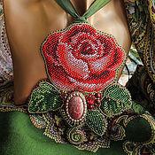 """Украшения ручной работы. Ярмарка Мастеров - ручная работа Массивный кулон на ленте """"Дарите женщинам цветы"""". Handmade."""