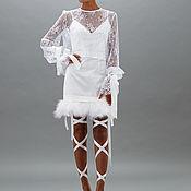 Одежда ручной работы. Ярмарка Мастеров - ручная работа Платье белое с перьями / блуза кружево LIPA 17. Handmade.