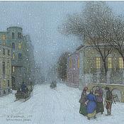 Картины и панно handmade. Livemaster - original item Where to buy a poster on watercolor paper Prechistenka Winter evening. Handmade.
