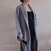 Одежда handmade. Livemaster - original item Knitted cardigan grey with a shawl collar. Handmade.