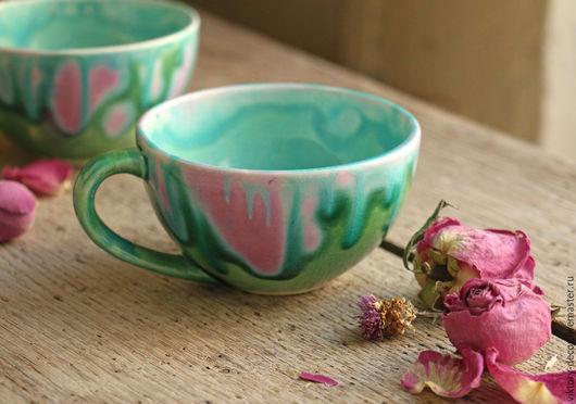 Кружки и чашки ручной работы. Ярмарка Мастеров - ручная работа. Купить Чайная пара Чайная роза. Handmade. Бирюзовый