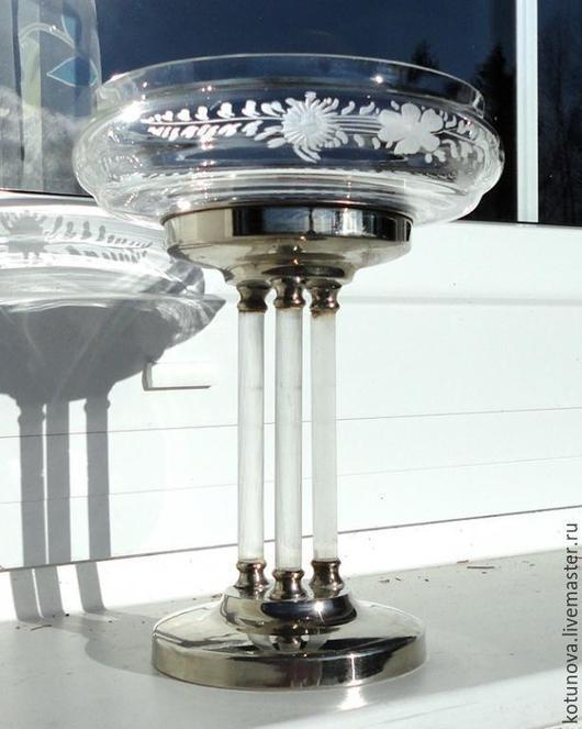 Винтажная посуда. Ярмарка Мастеров - ручная работа. Купить Фруктовница на стеклянных столбиках Чехия 19 век. Handmade. Старинное стекло