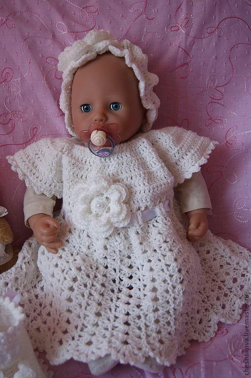 Для новорожденных, ручной работы. Ярмарка Мастеров - ручная работа. Купить Вязанный комплект для новорожденной на крещение. Handmade. Белый