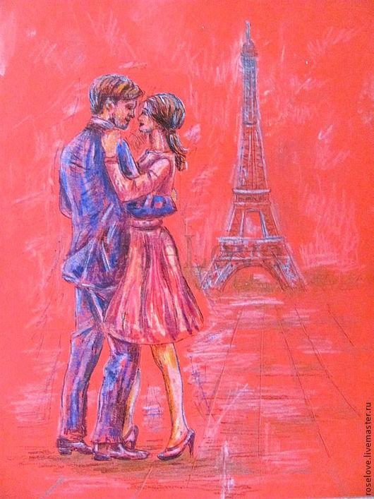 """Картина """"Танец..Влюбленного Парижа"""" Катерины Аксеновой.купить картины париж,картина париж эйфелева башня купить,купить картину с видом парижа,городской пейзаж картины,париж маслом,картина го"""
