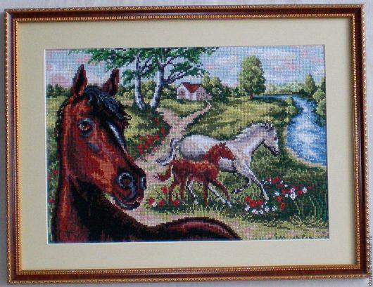 Животные ручной работы. Ярмарка Мастеров - ручная работа. Купить Вышитая картина''В кругу семьи''. Handmade. Комбинированный, пейзаж